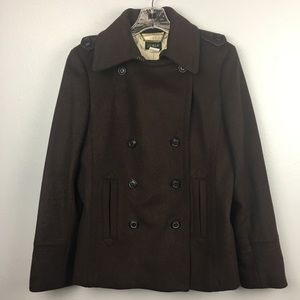 AWESOME J. CREW BROWN PEACOAT SIZE MEDIUM